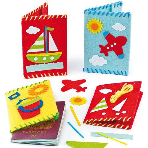 Passport Cover Sewing Kits (Pack of 3) Young jetsetters will love these!. Felt passport covers to sew together and take on holiday.. Each kit contains felt cover, self-adhesive felt decorations, wool and instructions.. 3 assorted. Finished size 3.5ins x 5.5ins.. Delivered within 9 working days.  #Baker_Ross #Toy