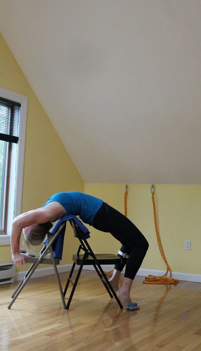 99 best images about iyengar yoga chair back bends on for Chaise yoga iyengar