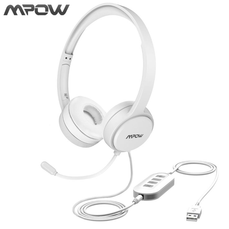 Mpow USB/3.5mm Plug Wired Headphones With Mic For Mac Skype Call Center PC Laptop Tablet Phones With Noise Reduction Card