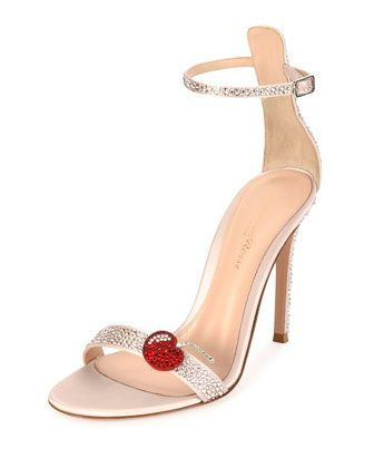 Strass+Cherry+Ankle-Wrap+105mm+Sandal,+Pink+by+Gianvito+Rossi+at+Neiman+Marcus.