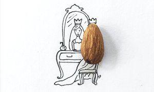 An almond transformed into a princess's hair by Desirée De León