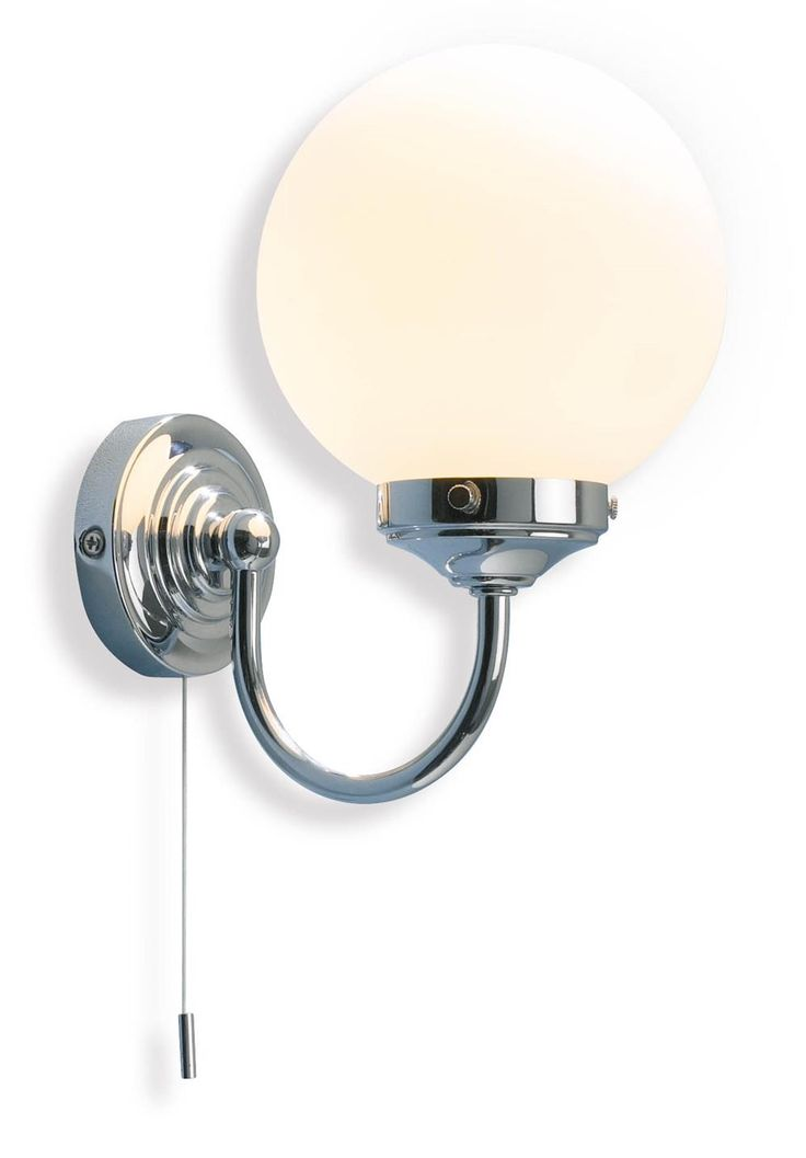 Barclay Bathroom Wall Light in Chrome Opal white glass shade with ribbed  metal backplate Switched with pull cord Bathroom