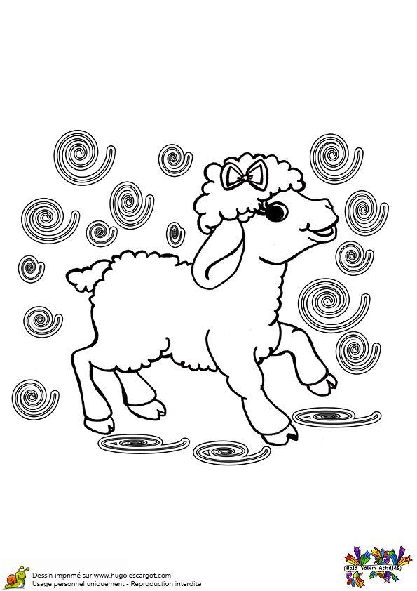 Un b b mouton tout joyeux colorier coloriages - Mouton en dessin ...
