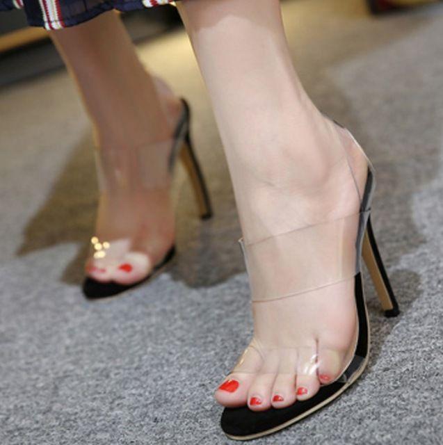2016 Nudez Preto Ver Através Transparente Legal sandálias de salto Alto Sexy Peep Toe Gladiador Pvc Verão Sapatas Das Mulheres
