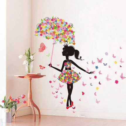 "SWORNA Nature Series SN-50 Lovely Flower Girl with Umbrella Removable Vinyl DIY Wall Art Mural Sticker Decal Decor for Bedroom/Living Room/Playroom/Store/Home Office/HallwayKindergarten 67""H X 57""W SWORNA"