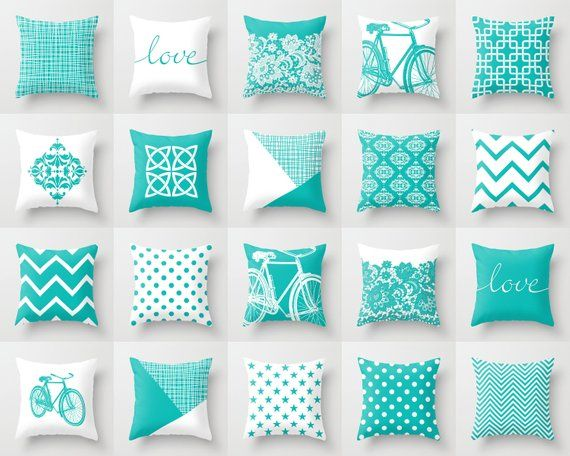 Robin Egg Blue White Throw Pillow Mix And Match Indoor Outdoor Cushion Cover Accent Sofa Couch Modern White Throw Pillows Pillow Mixing Outdoor Cushion Covers