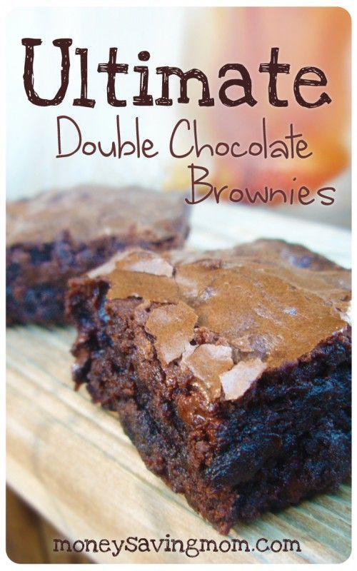 Ultimate Double Chocolate Brownies!  These are the BEST brownies! I can't tell you how many times we've made these addictive, chocolately gems over the years – definitely more than I can count. Who doesn't love homemade brownies?