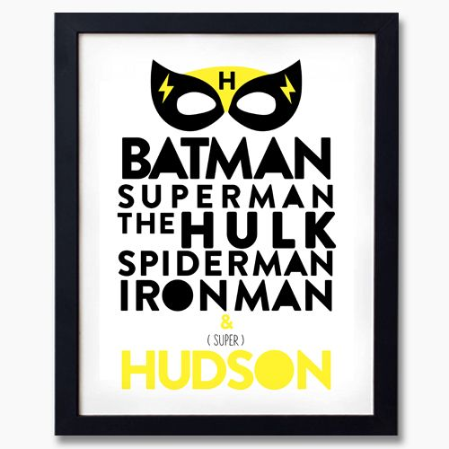 Little Superhero Personalised Print or Canvas