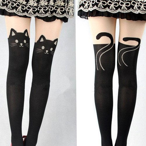 Cat Leggings,Tattoo Pantyhose, Cat Tights Stockings, Cute Pantyhose