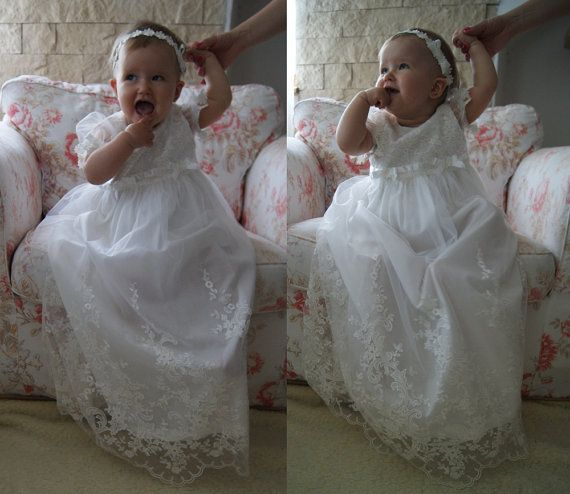 GLORIA Christening Gown Lace Baptism Gown Baptism dress