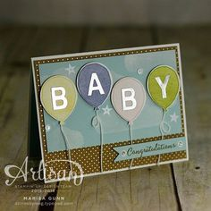 Baby Congratulations card using the Balloon Celebration stamp set and Shine On patterned paper from Stampin' Up! by Marisa Gunn