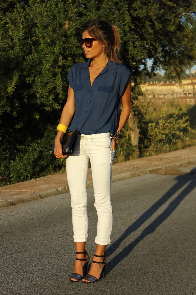 Blue Chiffon Shirt, White Jeans, and Yellow Cuff ---- #bottom #jewelry #top