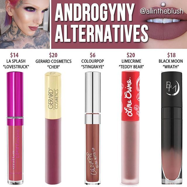 Not able to get your hands on @jeffreestarcosmetics #ANDROGYNY yesterday? Here are some alternative liquid lipsticks for you to try! Some are cheaper, some are not - the point of these particular alternatives is not to find a cheaper option but to find a similar lipstick while you wait for Jeffree's next restock. Let me know if you have any others you think are close in color! #allintheblush #makeupslaves #trendmood #vegas_nay #makeup #beauty #hudabeauty #slave2beauty #insta_makeup #norvi...