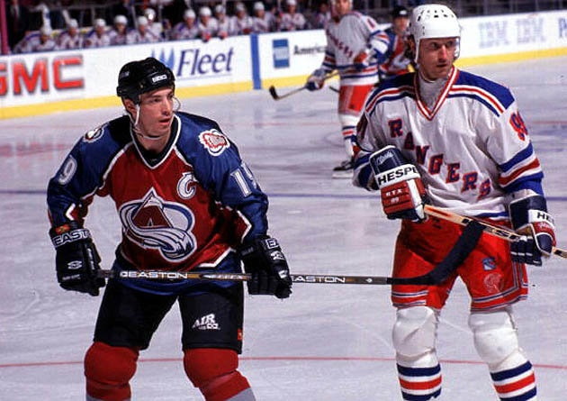 Joe Sakic and the top 10 NHL centers of all-time -- 1.  Wayne Gretzky, 100  2.  Mario Lemieux, 89  3.  Jean Béliveau, 74  4.  Mark Messier, 68  5.  Phil Esposito, 39  6.  Steve Yzerman, 36  7.  Bryan Trottier, 34  8.  Joe Sakic, 31  9.  Stan Mikita, 16  10.  Howie Morenz, 12