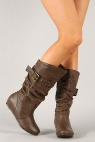 wish these came in my size...   Wild Diva Lounge Candies-309 Slouchy Buckle Hidden Wedge Boot