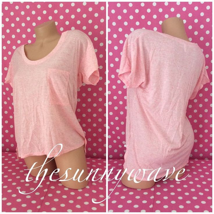 Victoria Secret Pink Slouchy Top Pocket Off-the-Shoulder T-Shirt High-Low NWOT M #VictoriasSecret #Blouse #Casual