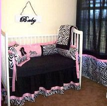 Custom pink black and white zebra baby crib bedding set in chenille fabric for a baby girl nursery room
