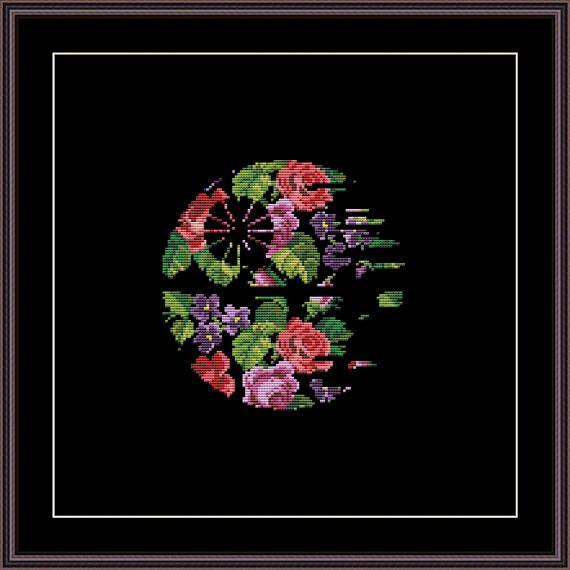Star Wars Cross Stitch PDF pattern Floral Death Star