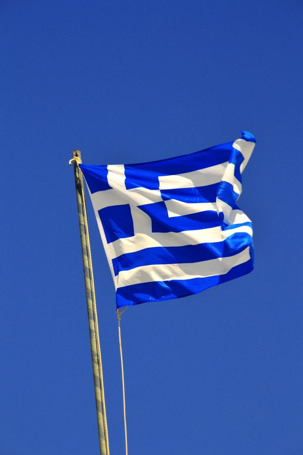 Greek Flag, Megalochori, Santorini