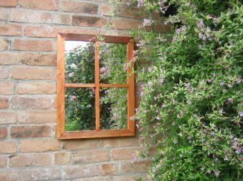 64x48 Victoriaanse Tuinspiegel met illusie van raam (in eiken) 128,-