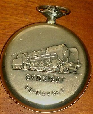 VINTAGE SERKISOF DEMIRYOLU SOVIET POCKET WATCH - Russian Railway - working