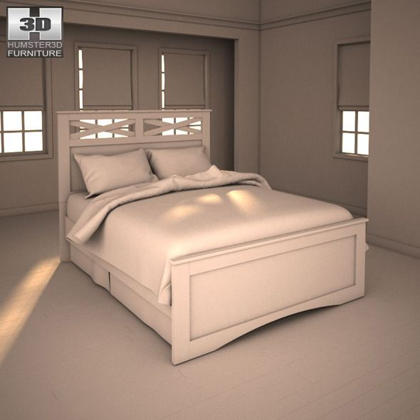 Ashley X Cess Queen Panel Bed 3d Models Bedroom Panel Queen