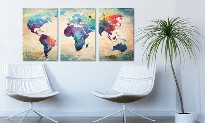 Decora una sala de espera con estos mapa mundi en lienzo