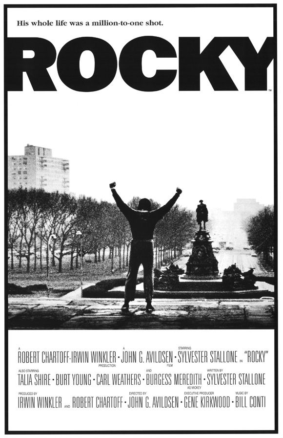 a 1976 sports drama the tells the story of Rocky Balboa an uneducated but kind heart debt collector for a loan shark in Philadelphia who later gets a shot at the World Heacyweight Championship. Sylvester Stallone co-wrote the script and starred as Rocky. The movie was so successful it's spawned five sequels...so far!
