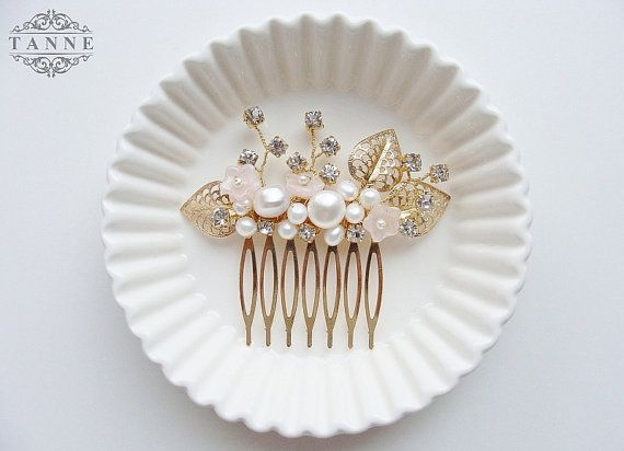 Blush Pink and Gold Wedding Bridal Hair Comb by DesignedByTanne