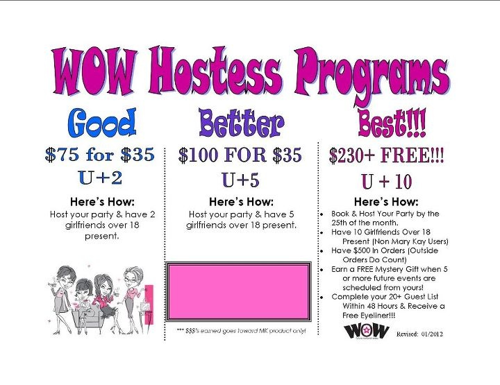 WOW Hostess Program - As a #Mary Kay #beauty consultant I can help you, please let me know what you would like or need. www.marykay.com/KathleenJohnson  www.facebook.com/KathysDaySpa