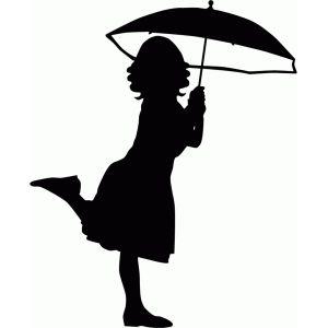 Silhouette Design Store - View Design #56452: girl with umbrella silhouette