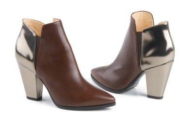 Lella Baldi brown-gold ankle boots