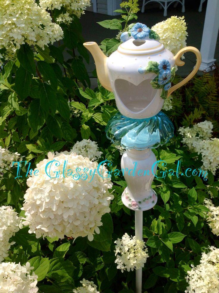 24 best glass garden art bird feeders images on for Recycled glass garden ornaments