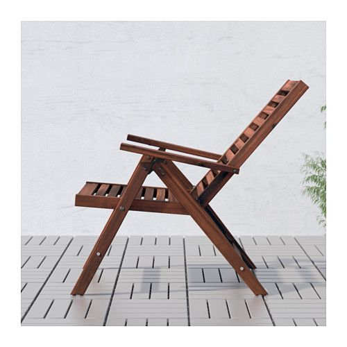 ÄPPLARÖ Reclining chair, outdoor - foldable brown stained, - - IKEA  $65