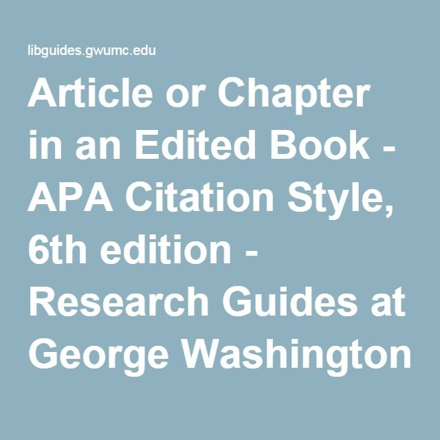 apa citation essay in edited book Apa format cite chapter in edited book  information about book citations, see page 203 of the apa manual,  essay or article from an edited book:.