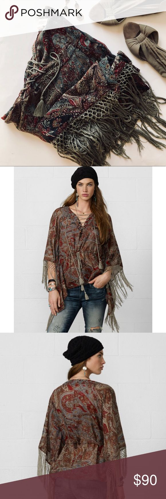 Ralph Lauren Denim & Supply Fringe Boho Poncho This top has always been my favorite!! Ralph Lauren Denim & Supply Poncho style with fringe detail top. Drawstring at waist area to tighten or loosen. Neutral greens, red, purple, & brown paisley prints. Size medium, but versatile to many sizes ( I am Normally a small and this fit me lovely). Excellent condition, no flaws. Sleeves are a batwing style. 100% cotton. Offers welcome:) Denim & Supply Ralph Lauren Tops Blouses