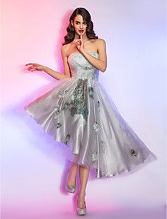 A-line/Princess Strapless Asymmetrical Tulle and Charmeuse C... – USD $ 79.29 <3