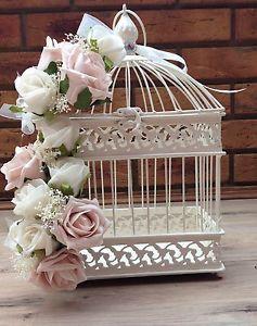 VINTAGE-SHABBY-CHIC-DUSKY-PINK-IVORY-ROSES-BIRD-CAGE-WEDDING-CENTREPIECE-FLOWERS