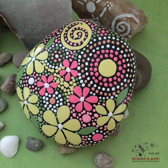 FREE SHIPPING!  Hand Painted Rocks - fields of color collection #52  Mandala Inspired Design - Natural Home Decor - One-of-a-Kind Accent Weather Resistant Garden Decoration As in nature no two ethereal & earth stones are alike. Each stone and its design is unique. I work with each stones shape, size, and texture to create a singular mix of art & nature. Color is the key to shopping at ethereal & earth. The stone collections are inspired by the colors & moments of nature. This fun and…