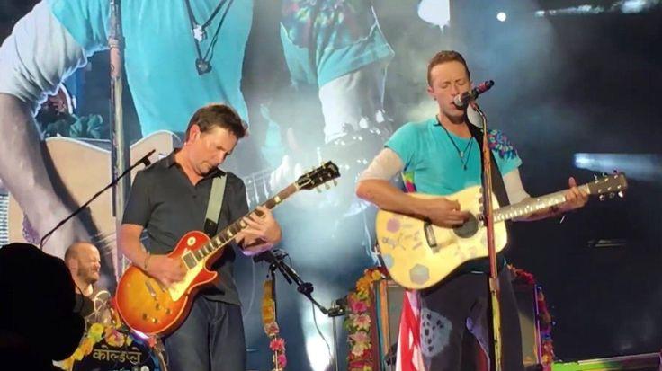 Coldplay con Michael J Fox en el estadio MetLife NJ. Concierto: A head full of dream tour 2016