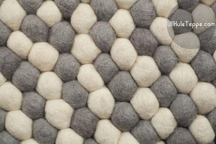 Ull-Kule-Teppe-Rundt-White-Grey hvit  utforming