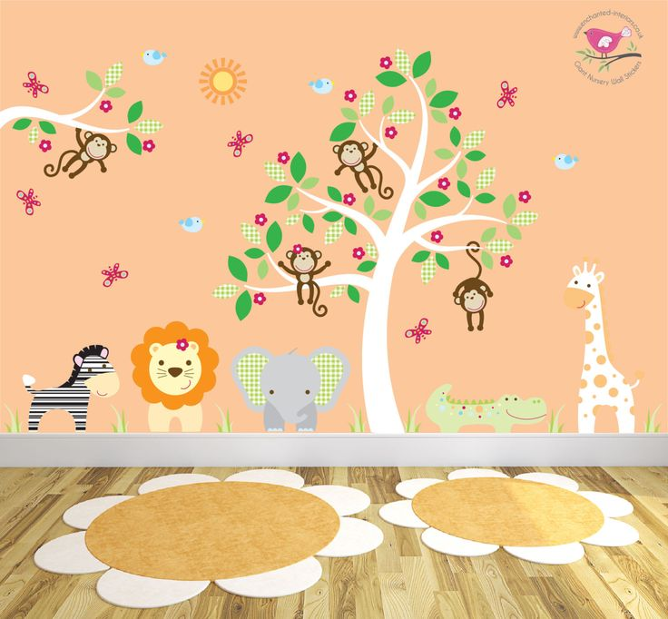 Jungle Wall Decal featuring friendly safari animals and swinging monkeys baby wall stickers nursery wall decal tree toddler gifts (174.95 GBP) by EnchantedInteriorsUK