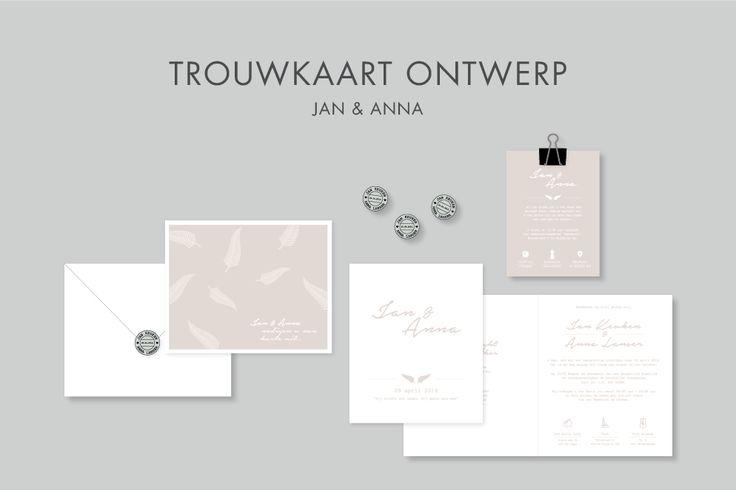 burowit - ontwerpbureau | grafische vormgeving - Trouwkaart, envelop en sticker ontwerp