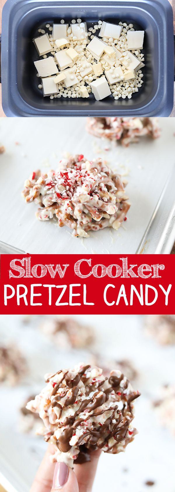 Slow Cooker White Chocolate Peppermint Pretzel Candy - easy sweet and salty Christmas Candy right in the slow cooker!