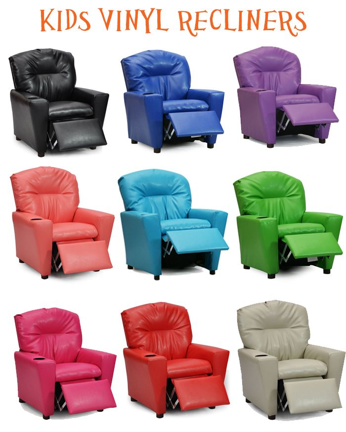 These vinyl recliners for kids give a child a spot to call their own.  Colorful and constructed with a solid hardwood frame for durability.