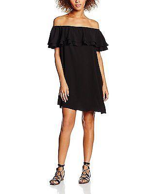 8, Black, New Look Women's Pebble Frill Bardot Dress NEW