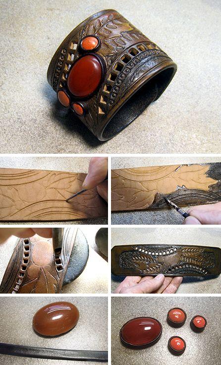 Leather bracelet tutorial   Делаем кожаный браслет «Прелюдия осени» с сердоликом