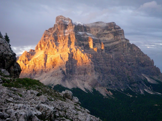 Mount Pelmo - Alta Via One, the Dolomites. View from the deck of Refugio Coldai