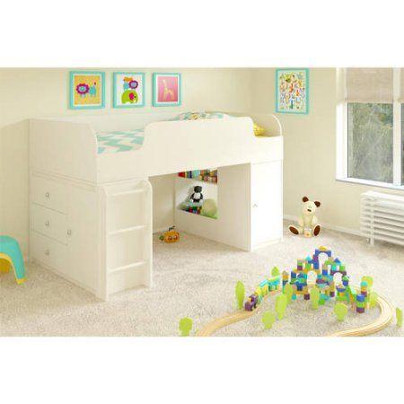 Cosco Elements Loft Bed Twin with 3-Drawer Organizer & Toy Box Bookcase, White Stipple - Walmart.com