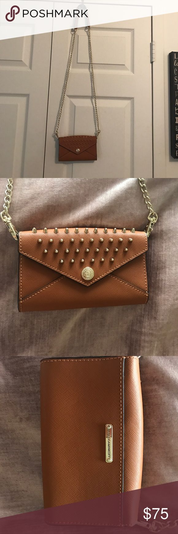 """Rebecca Minkoff Studded Mini Wallet/Clutch w/Chain Never used, Got at Rebecca Minkoff Sample Sale, Interior & Exterior Pocket, 100% Leather, Magnetic -snap Closure, Removable Shoulder/Cross-body Strap, Strap 23"""" Long. Mint Condition. Rebecca Minkoff Bags Wallets"""